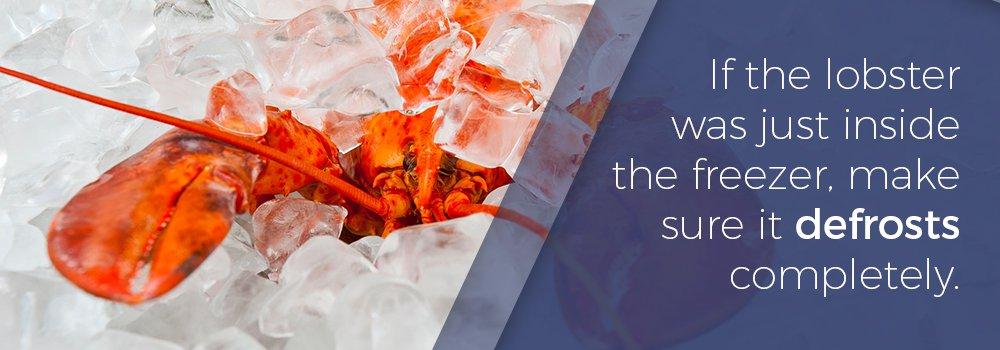 Defrosting Maine Lobster