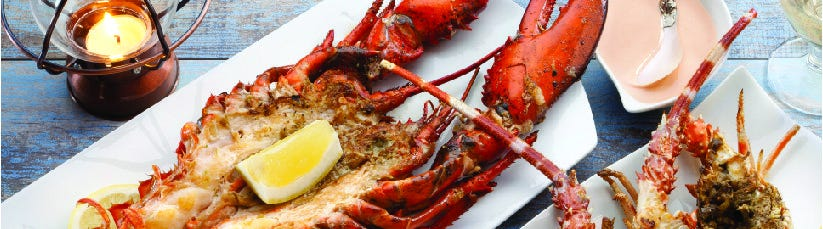 Lobsters being served on plates