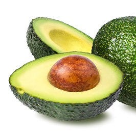 ripe avocado, pitted, peeled, and sliced