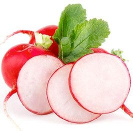 thinly sliced radishes