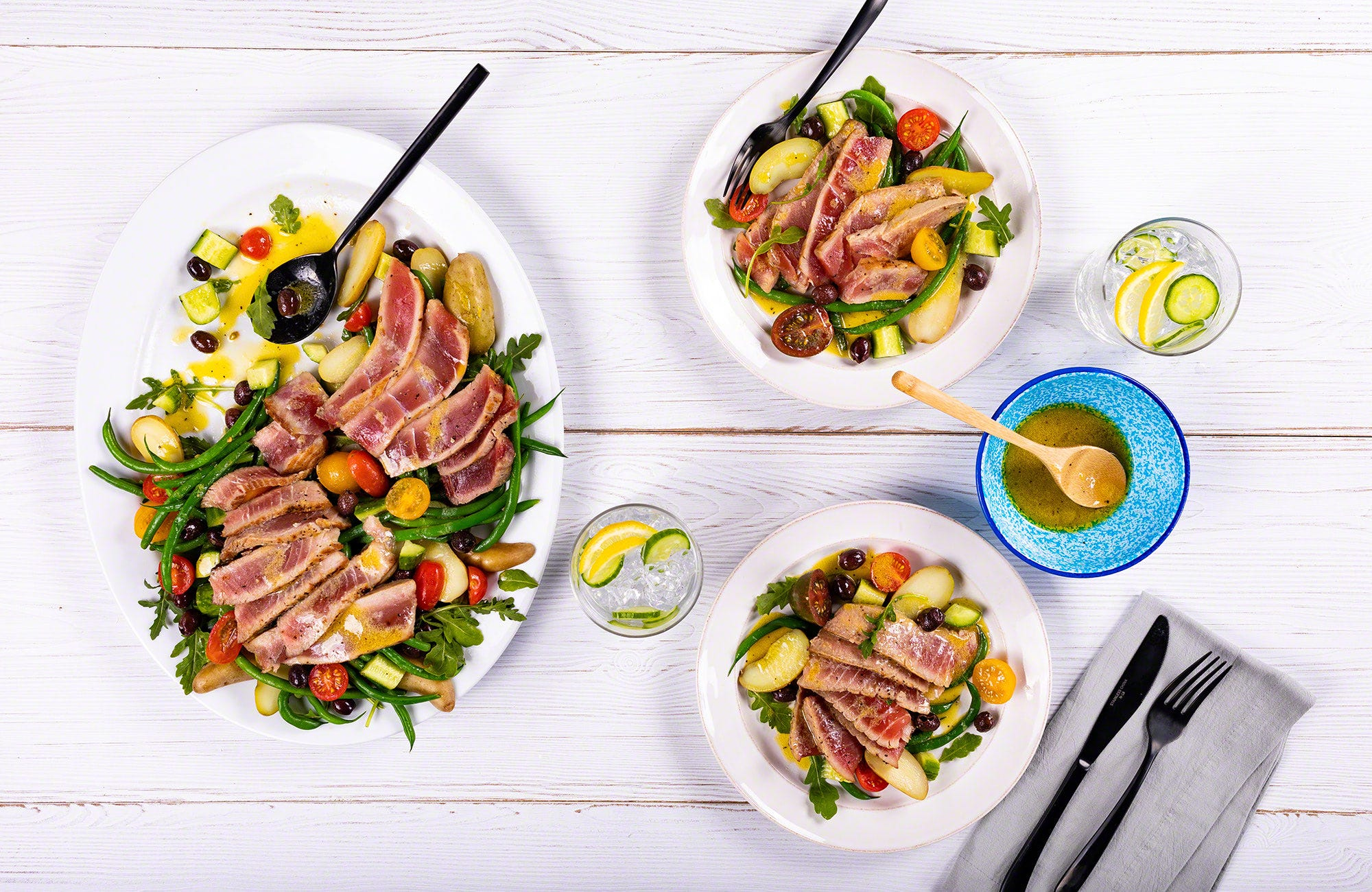 Seared Tuna Steak Salad Niçoise with Lemon Dijon Mustard Vinaigrette