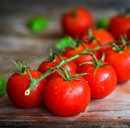 vine tomatoes, thinly sliced
