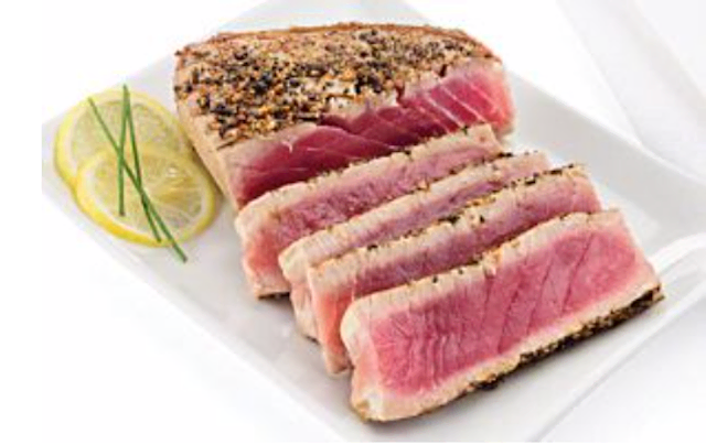 Tuna steaks with skin removed