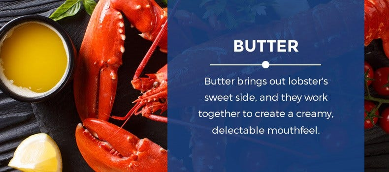 Butter and cooked lobster on a table