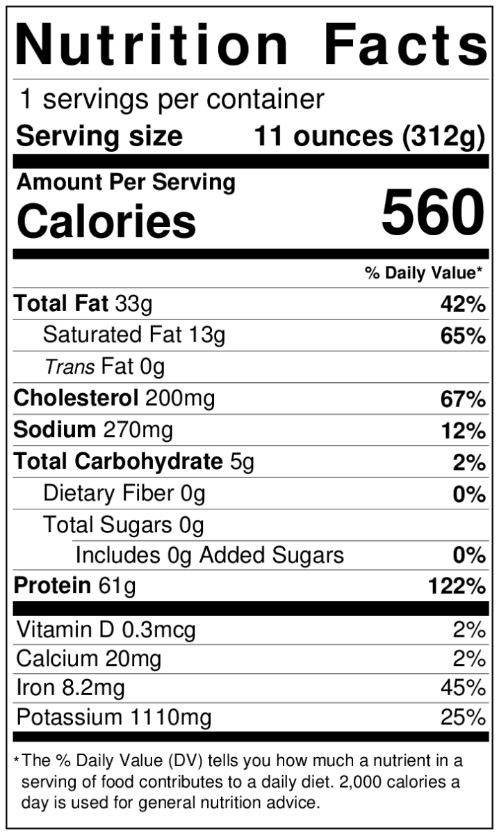 USDA Prime Black Angus Boneless Rib Eye - 11 oz