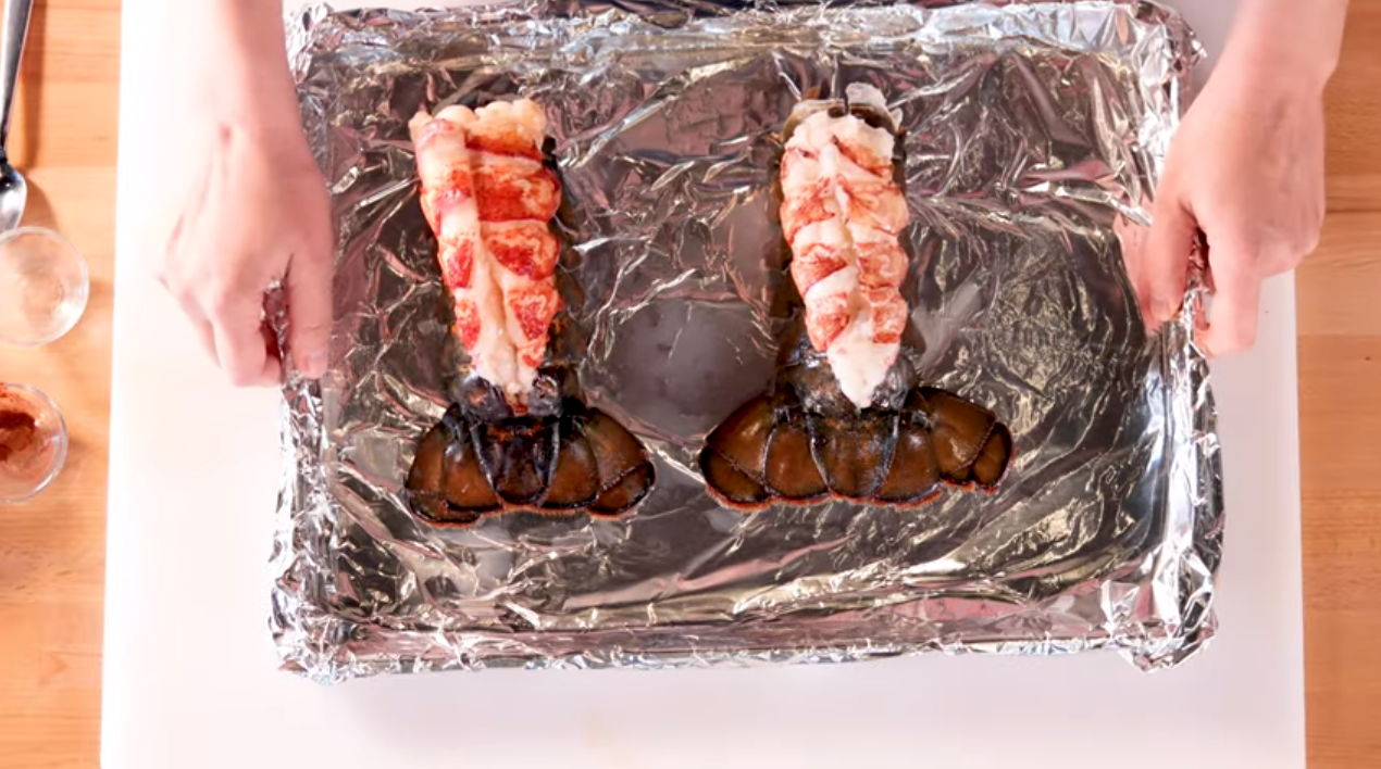 Lobster tail on pan with aluminum foil