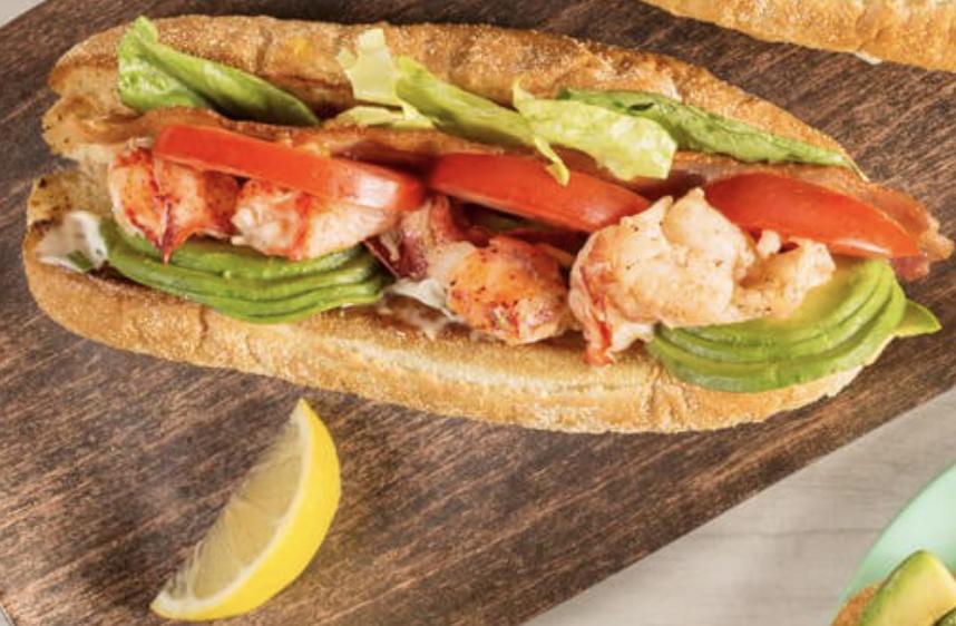Seafood sub on a cutting board