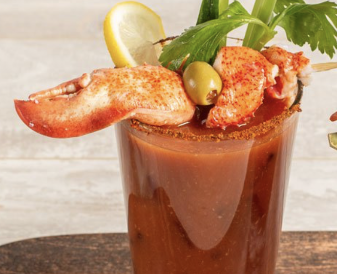 Lobster meat and a drink