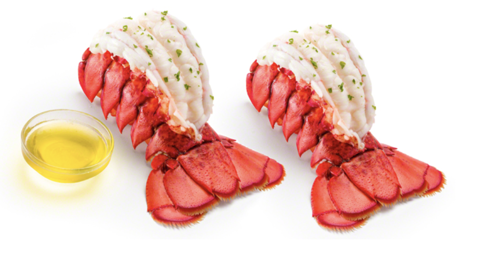 White lobster tail meat and butter
