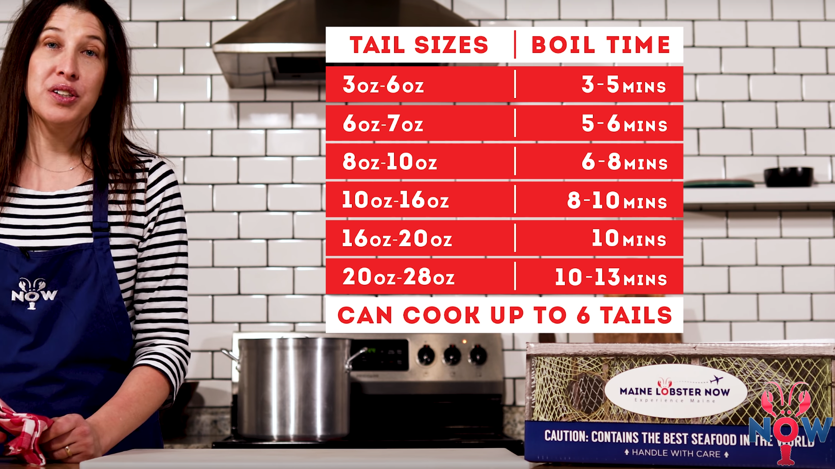 Tail sizes and boil time sheet