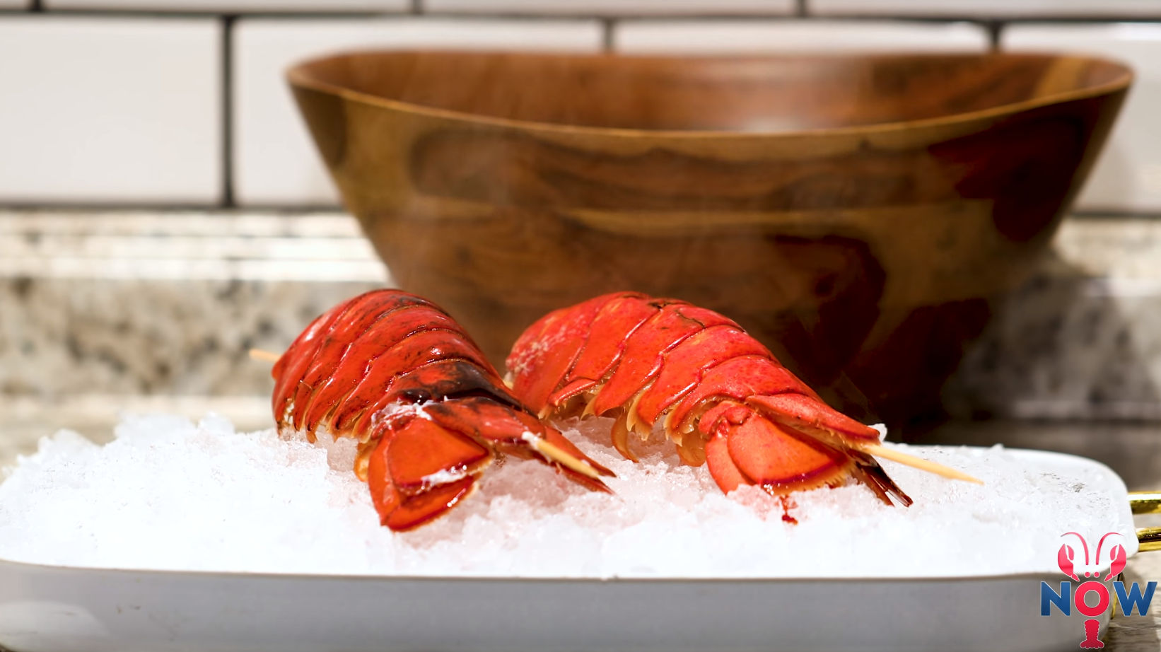 Lobster tail on ice