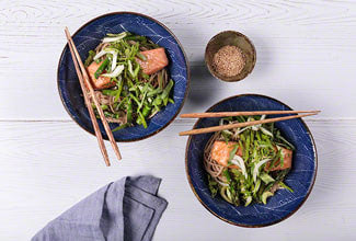 Plated miso glazed salmon with sesame noodles