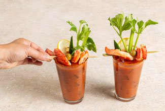 Finished lobster bloody mary drinks